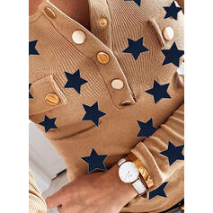 Print V-Neck Long Sleeves Button Up Casual Knit Blouses