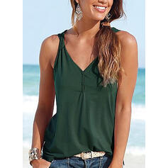 Solid V Neck Sleeveless Button Up Casual Sexy Tank Tops