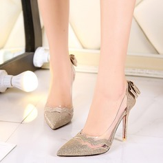 Women's Leatherette Stiletto Heel Pumps With Bowknot Sparkling Glitter Split Joint shoes