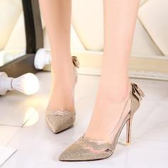 Femmes Similicuir Talon stiletto Escarpins avec Bowknot Pailletes scintillantes Semelle chaussures