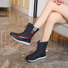 Women's Fabric Low Heel Boots With Zipper Button shoes