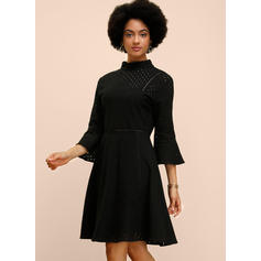 Lace/Solid 3/4 Sleeves/Flare Sleeves A-line Knee Length Little Black/Casual/Elegant Skater Dresses
