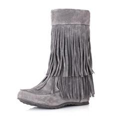 Femmes Suède Talon compensé Bout fermé Bottes Bottines Bottes mi-mollets avec Tassel chaussures