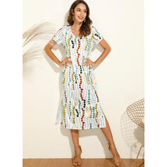 Print Short Sleeves Shift T-shirt Casual/Vacation Midi Dresses