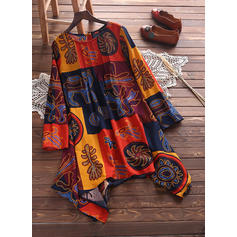 Print/Patchwork Long Sleeves Shift Asymmetrical Boho Dresses