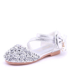 Girl's Microfiber Leather Flat Heel Round Toe Closed Toe Sandals Flower Girl Shoes With Bowknot