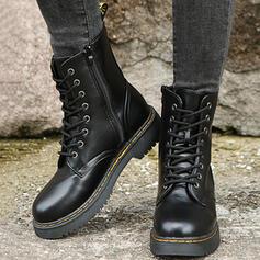 Femmes PU Talon bottier Martin bottes avec Zip Dentelle Couleur unie chaussures