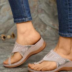 Femmes PU Talon compensé Sandales Chaussons chaussures