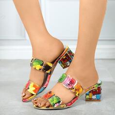 Femmes PU Talon bottier Sandales Compensée avec Couleur d'épissure chaussures