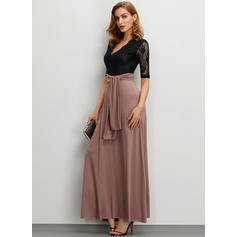 Lace Short Sleeves A-line Maxi Party/Elegant Dresses