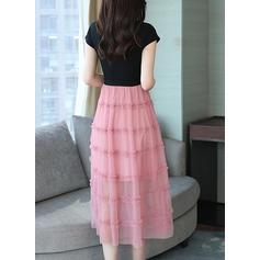 Jednolita Krótkie rękawy W kształcie litery A Casual/Przyjęcie/Elegancki Midi Sukienki