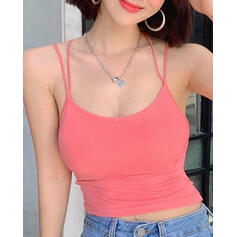Spaghetti Straps Sleeveless Solid Color Sports Tees