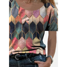 Geometric Print Round Neck Short Sleeves Casual T-shirts