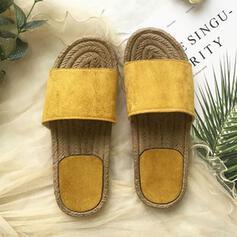 Femmes Suède Talon plat Sandales À bout ouvert Chaussons avec Couleur unie chaussures