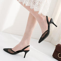 Women's Leatherette Mesh Stiletto Heel Sandals Pumps Closed Toe Slingbacks With Others Elastic Band shoes