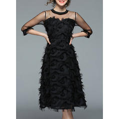 Solid 3/4 Sleeves A-line Vintage/Little Black/Party/Elegant Midi Dresses