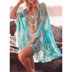 Print/Floral 3/4 Sleeves Cold Shoulder Sleeve Shift Above Knee Boho/Vacation Tunic Dresses