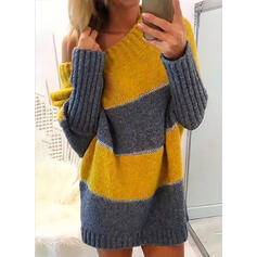 Color Block Long Sleeves Shift Above Knee Casual Sweater Dresses