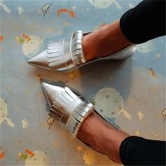 Frauen PU Flascher Absatz Flache Schuhe mit Quaste Schuhe
