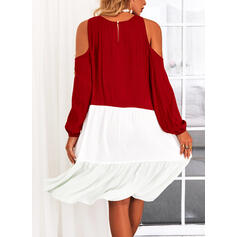 Color Block Long Sleeves Cold Shoulder Sleeve Shift Knee Length Casual Tunic Dresses