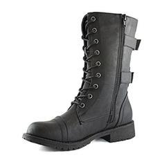 Femmes Similicuir Talon bas Bottes avec Zip chaussures