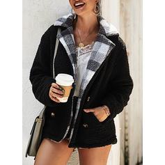 Polyester Dlouhé rukávy Jednobarevný Kabáty široké v pase Umělá kožešina kabát