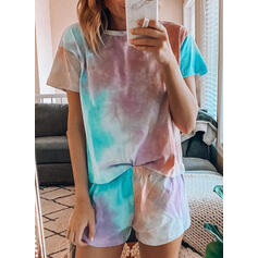 Round Neck Short Sleeves Print Attractive Top & Short Sets