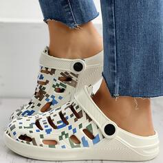 De mujer Caucho Tacón plano Sandalias Pantuflas con Agujereado zapatos