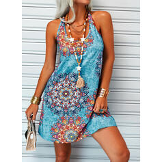 Print/Floral Sleeveless Sheath Above Knee Sexy/Vacation Tank Dresses