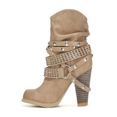 Women's Leatherette Chunky Heel Pumps Boots With Buckle shoes