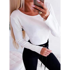 Solid Lace Off the Shoulder Long Sleeves Casual Knit Blouses