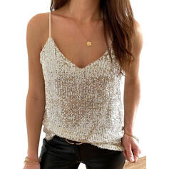 Sequins Solid Spaghetti Straps Sleeveless Tank Tops