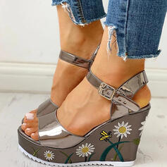 Women's PVC Wedge Heel Sandals Peep Toe With Buckle Flower shoes