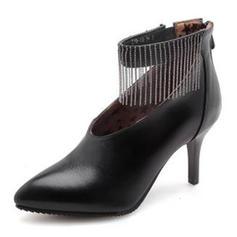 Dla kobiet PU Obcas Stiletto Czólenka Zakryte Palce Z Łańcuszek Frędzle obuwie