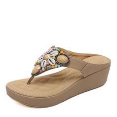 Femmes Similicuir Talon compensé Sandales Compensée À bout ouvert Escarpins avec Strass chaussures