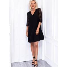 Solid Lace 1/2 Sleeves Shift Above Knee Little Black/Elegant Dresses