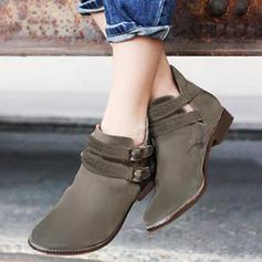 Donna PU Senza tacco Stivali Stivali alla caviglia con Fibbia scarpe