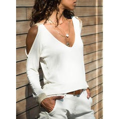 Solid Cold Shoulder Long Sleeves Casual T-shirt
