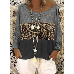 Color Block Leopard One-Shoulder Long Sleeves Casual T-shirts
