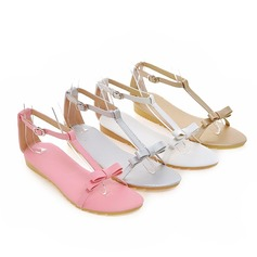 Women's Leatherette Flat Heel Sandals Flats Peep Toe Slingbacks With Bowknot shoes