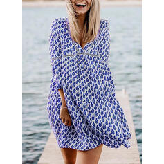Print Long Sleeves/Flare Sleeves Shift Above Knee Casual/Vacation Dresses