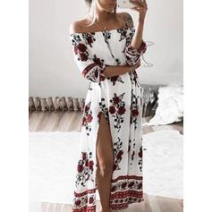 Print/Floral 1/2 Sleeves/Long Sleeves Shift Maxi Boho Dresses