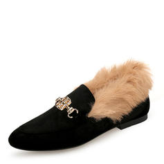 Dla kobiet Zamsz Płaski Obcas Plaskie Zakryte Palce Z Klamra Sztuczne Futro obuwie