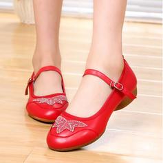 Femmes Chaussures de Caractère Chaussures plates Vrai cuir avec Lanière de cheville Swing