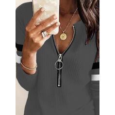 В полоску V шеи Длинные рукова элегантный Блузы
