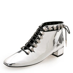 Women's Patent Leather Chunky Heel Closed Toe Ankle Boots Martin Boots With Rivet Lace-up shoes
