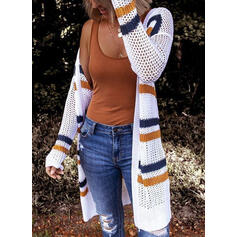 Striped Chunky knit Casual Long Cardigan