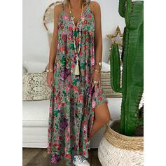Print/Floral Sleeveless A-line Slip/Skater Casual Maxi Dresses