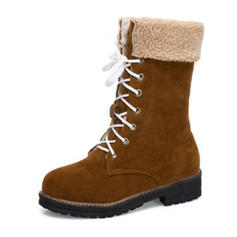 Femmes Suède Talon bottier Bottes Bottes mi-mollets Bottes neige avec Dentelle chaussures