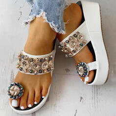 Femmes PU Talon compensé Sandales Plateforme Compensée À bout ouvert Chaussons Anneau d'orteil avec Strass Boucle Chaîne chaussures